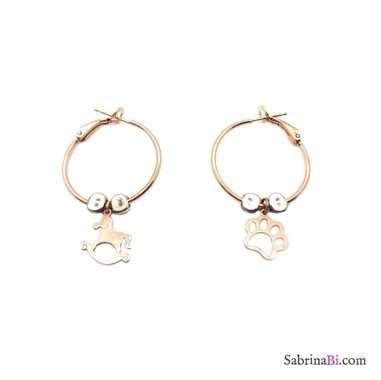 Orecchini a cerchio medio argento 925 oro rosa Orma e Cavallo a dondolo