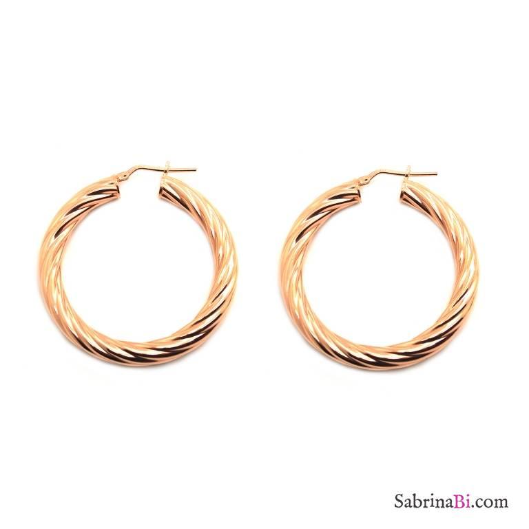Orecchini a cerchio torchon argento 925 oro rosa