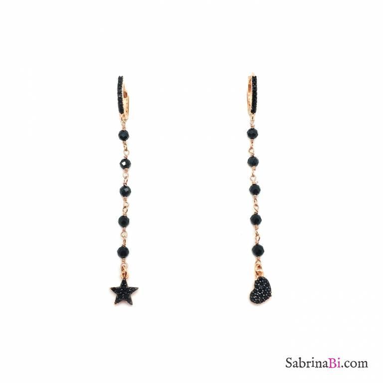 Orecchini a cerchio zirconato argento 925 oro rosa rosario nero Cuore Stella