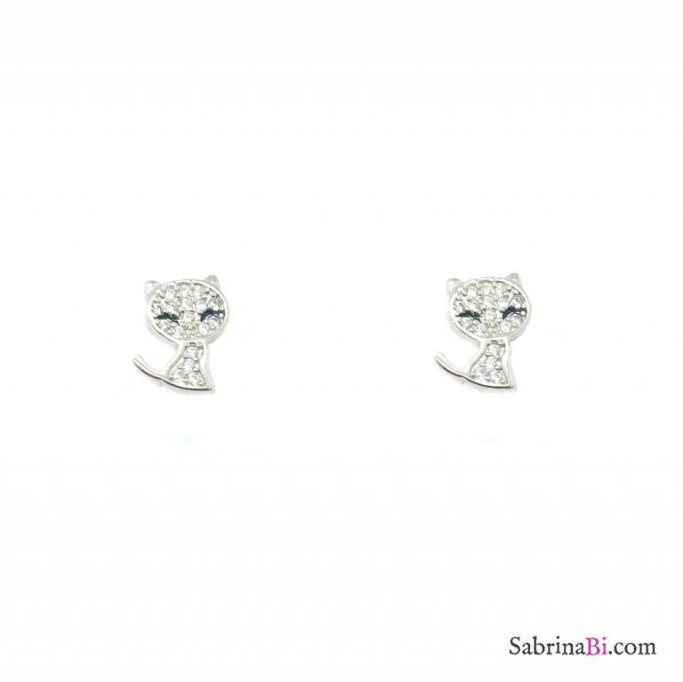 Orecchini a lobo argento 925 gatto Zirconi