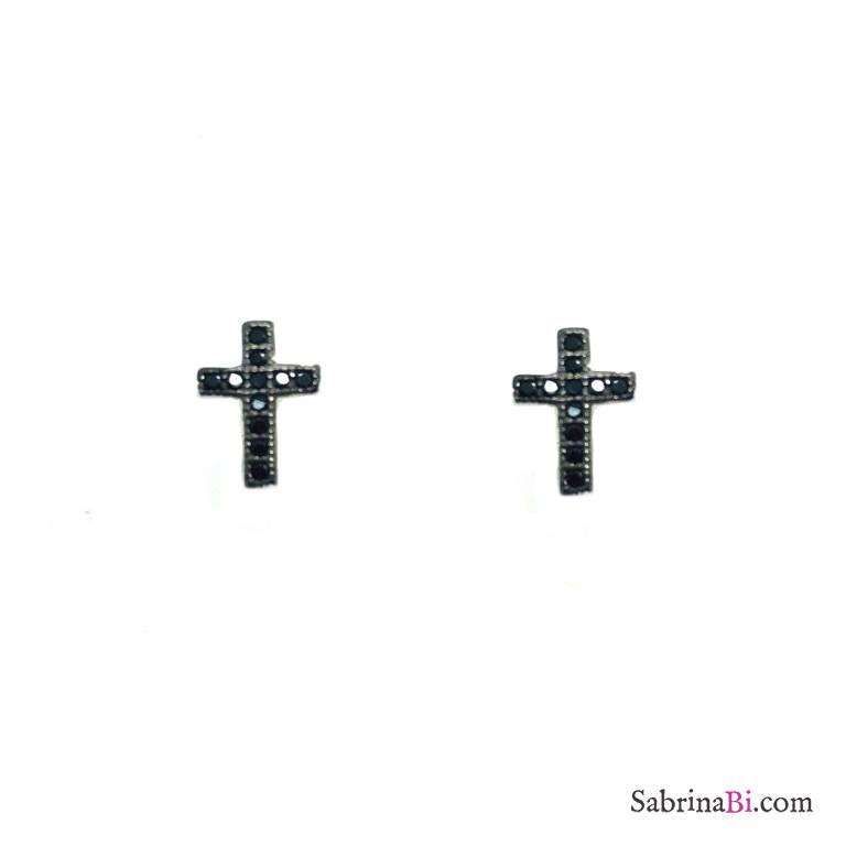 Orecchini a lobo argento 925 micro Croce Zirconi neri