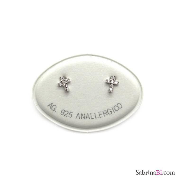 Orecchini a lobo argento 925 Mini Croce Zirconi