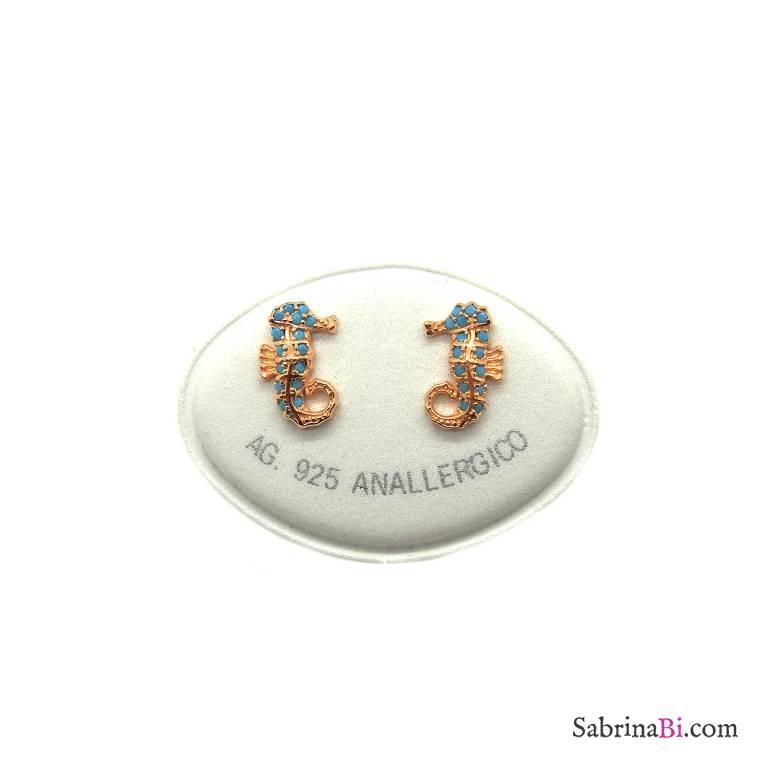 Orecchini a lobo argento 925 oro rosa Cavalluccio marino Turchesi