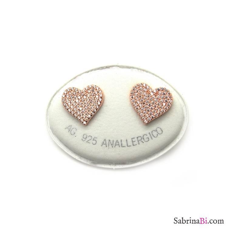 Orecchini a lobo argento 925 oro rosa cuore grande Zirconi