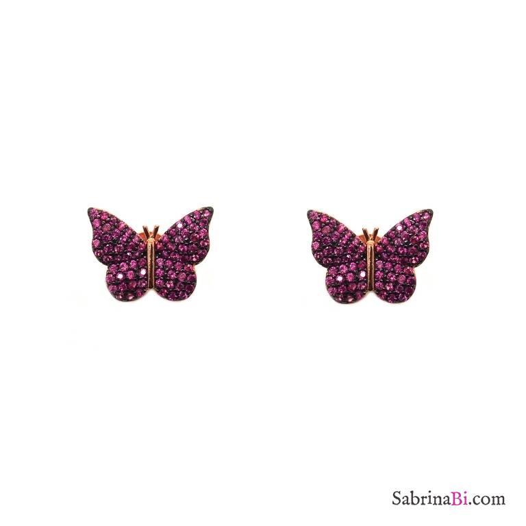 Orecchini a lobo argento 925 oro rosa Farfalla Zirconi rubino
