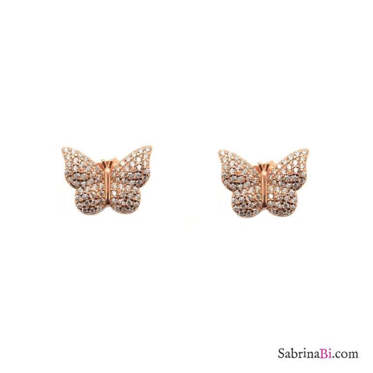 Orecchini a lobo argento 925 oro rosa Farfalla Zirconi