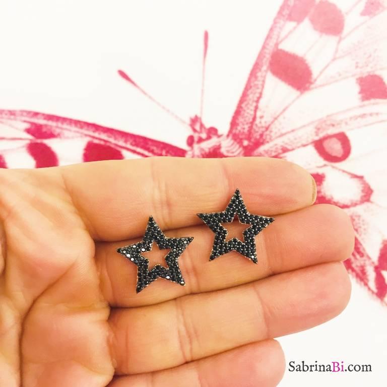 Orecchini a lobo argento 925 oro rosa maxi Stella vuota Zirconi neri