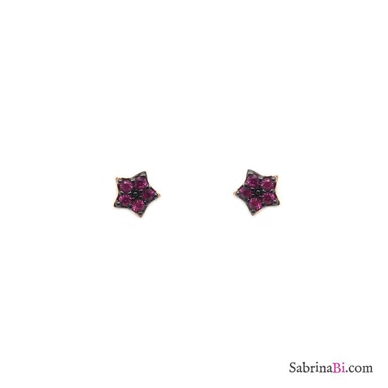 Orecchini a lobo argento 925 oro rosa Micro Stelle Zirconi rubino