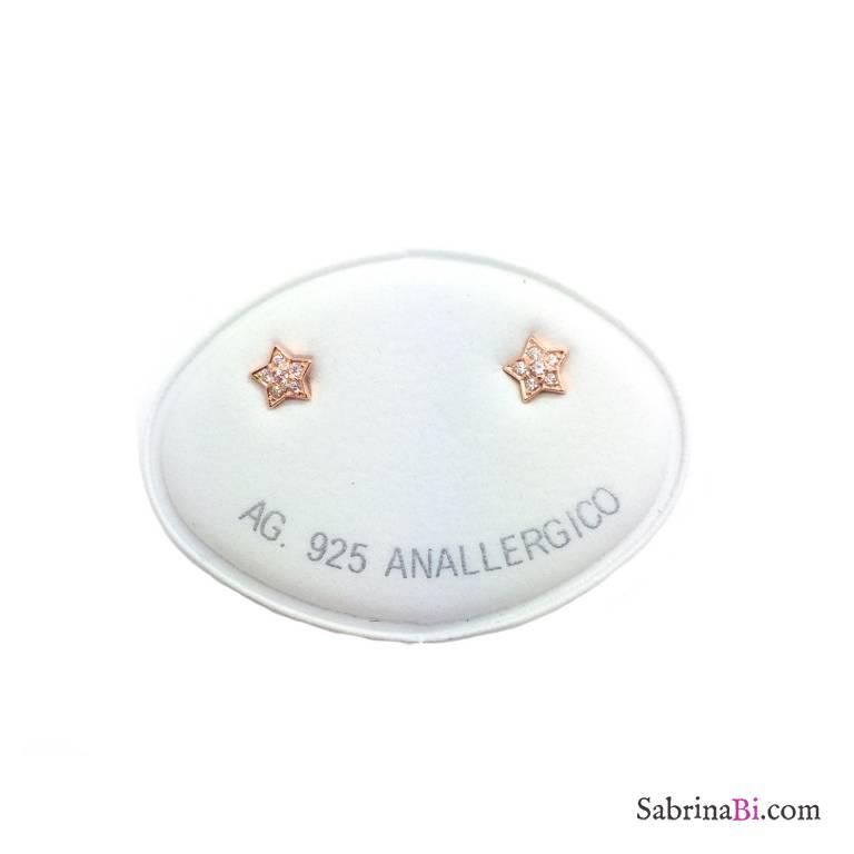 Orecchini a lobo argento 925 oro rosa micro Stelle Zirconi
