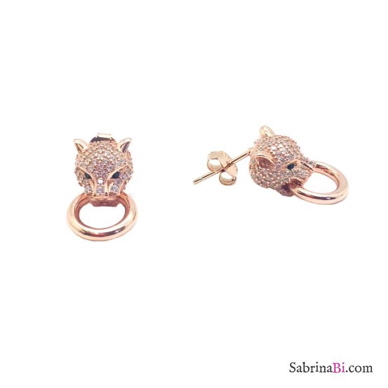 Orecchini a lobo argento 925 oro rosa Pantera Zirconi con anello