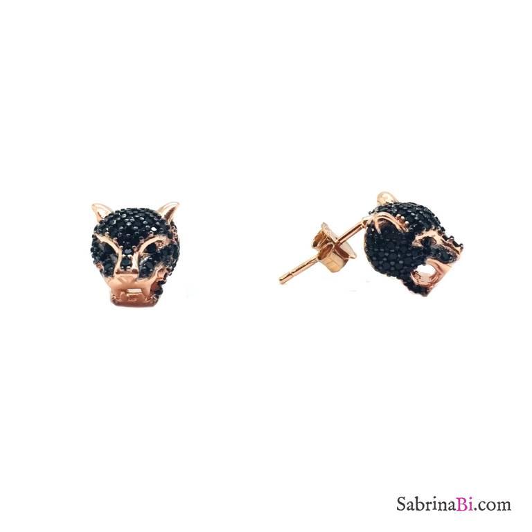 Orecchini a lobo argento 925 oro rosa Pantera Zirconi neri
