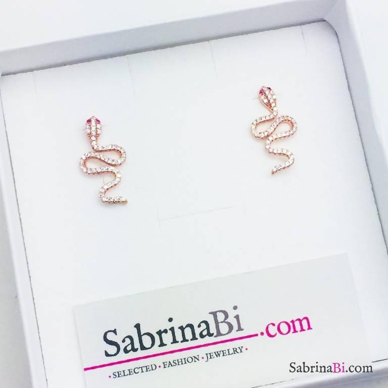 Orecchini a lobo argento 925 oro rosa serpente Zirconi
