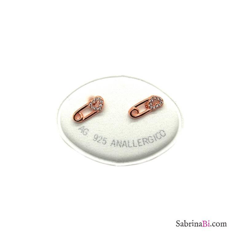 Orecchini a lobo argento 925 oro rosa Spilla di sicurezza Zirconi