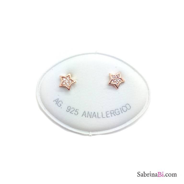 Orecchini a lobo argento 925 oro rosa Stelle piccole Zirconi