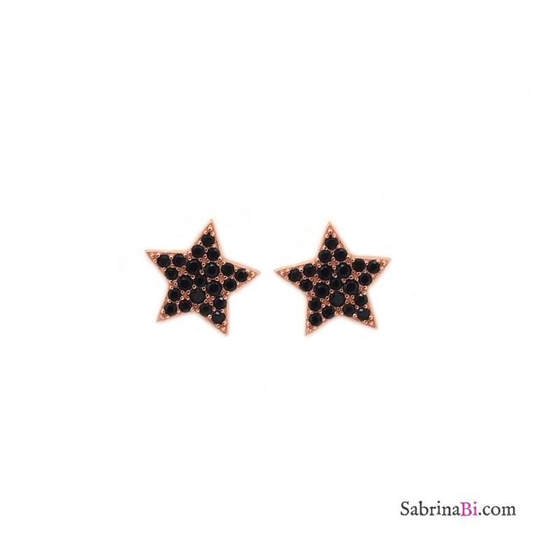 Orecchini a lobo argento 925 oro rosa Stelle Zirconi neri
