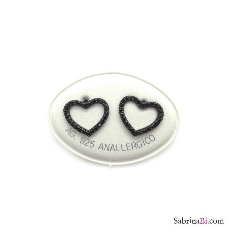 Orecchini a lobo argento 925 rodiato nero cuore vuoto grande Zirconi neri