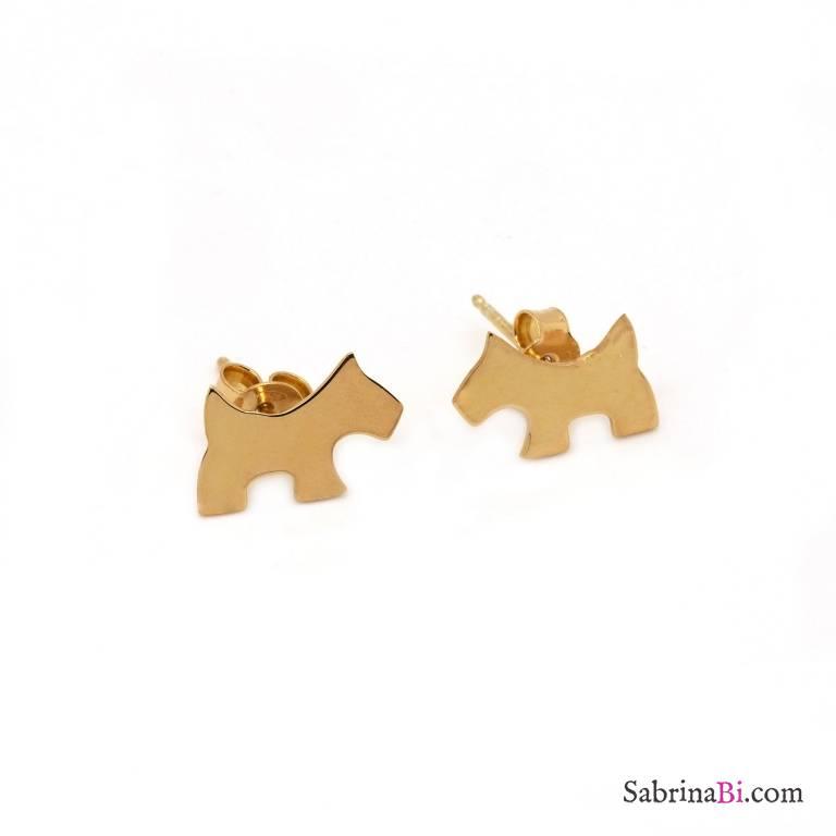 Orecchini a lobo cane argento 925 placcato oro rosa