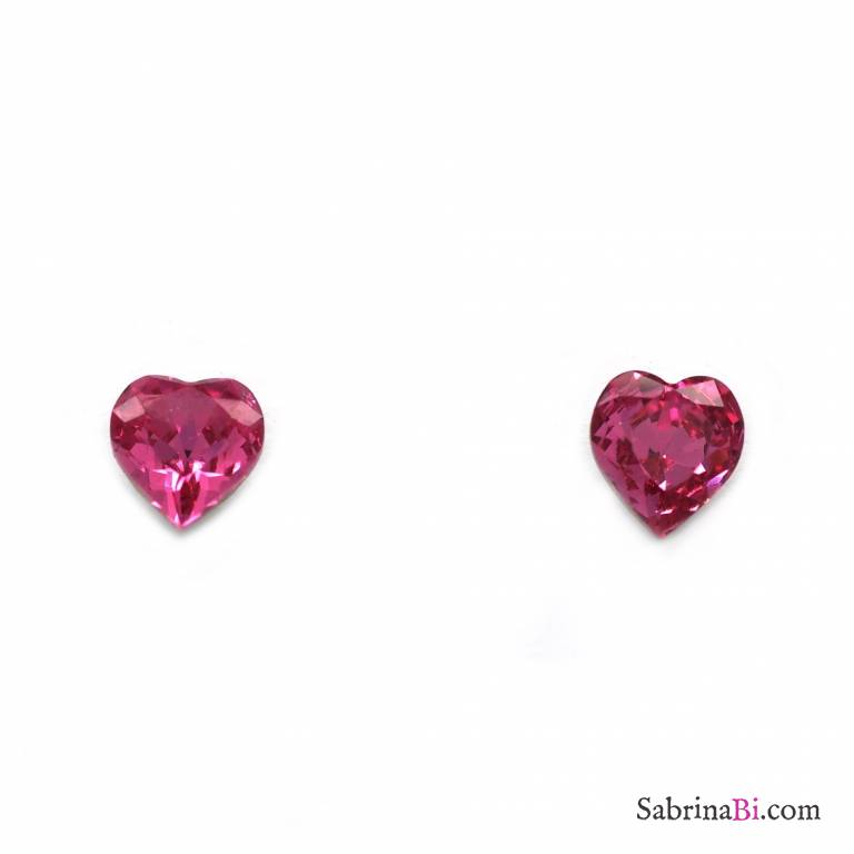 Dark Pink Swarovski Crystals Heart Stud Earrings