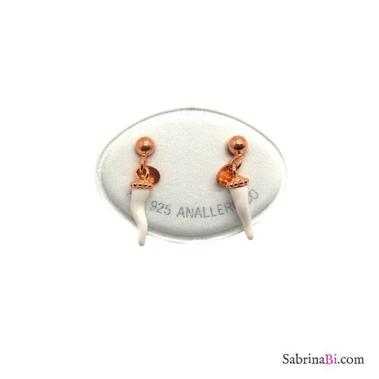 Orecchini argento 925 oro rosa cornetto smalto bianco
