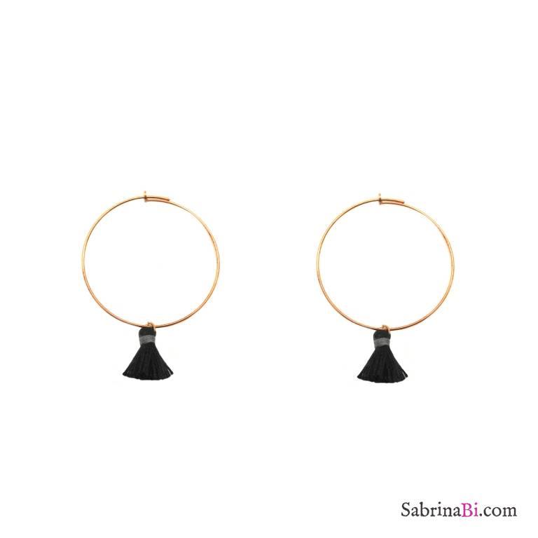 Orecchini cerchio 4,5cm argento 925 oro rosa nappine nere