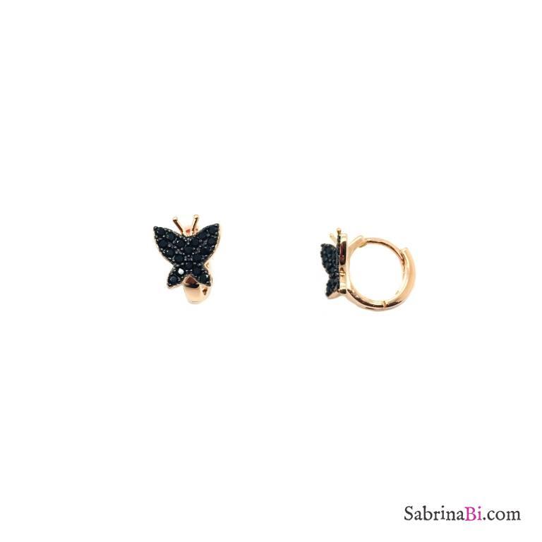 Orecchini cerchio argento 925 oro rosa farfalla Zirconi neri