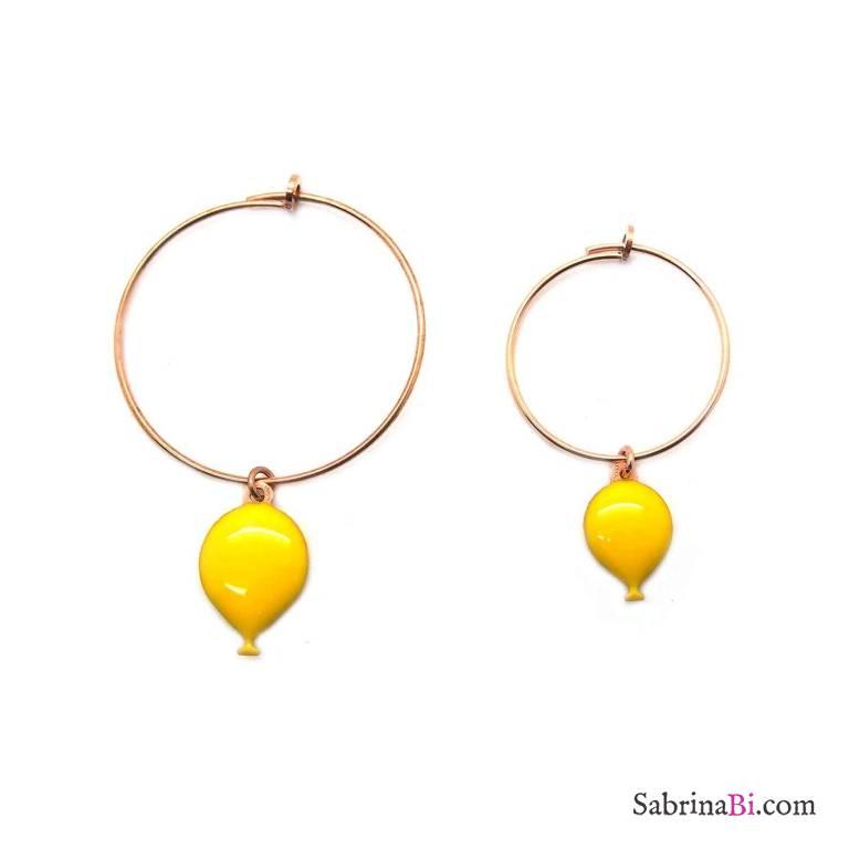Orecchini cerchio argento 925 oro rosa palloncini smalto giallo