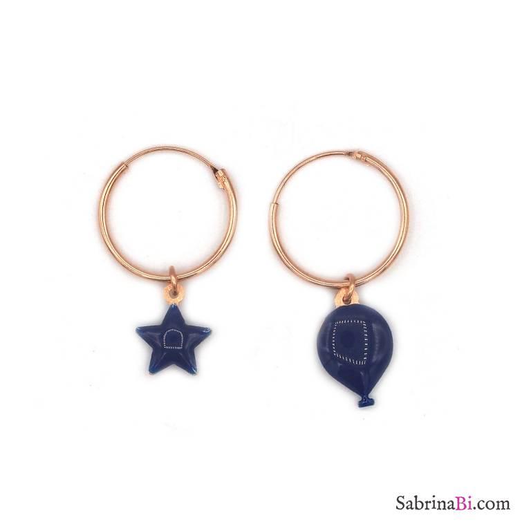 06787122a Blue enamel balloon and star rose gold sterling silver hoop earrings |  PoNaNa | SabrinaBi