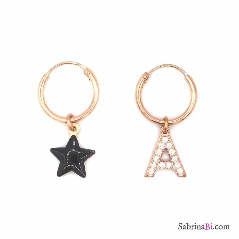 Orecchini cerchio argento 925 oro rosa stella nera e lettera iniziale nome zirconi