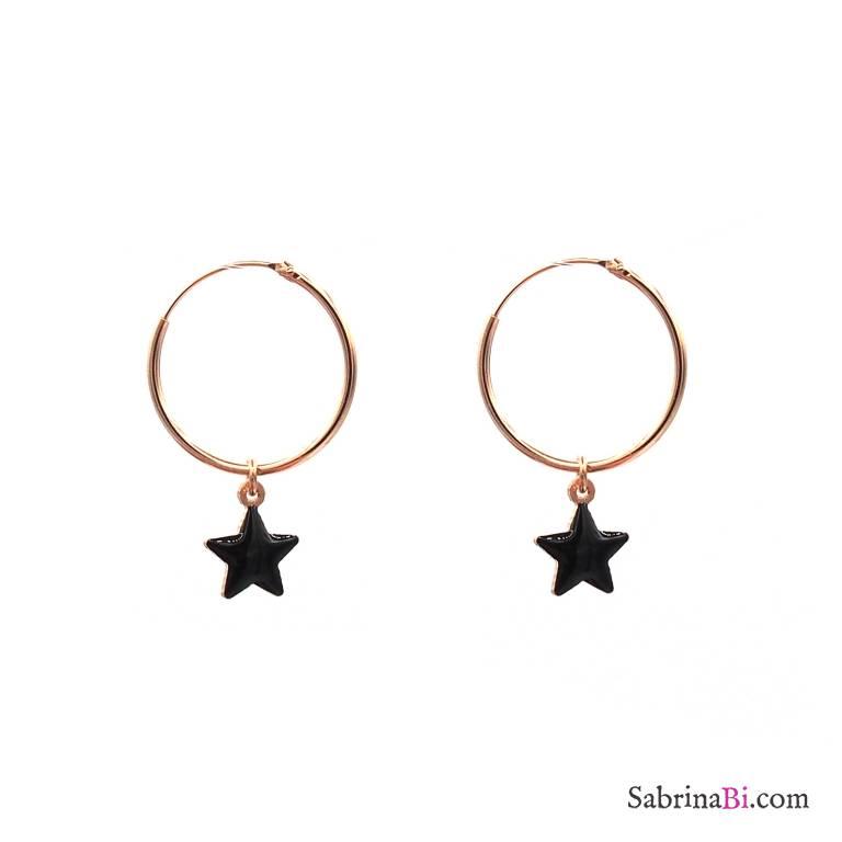 Black Star Rose Gold Sterling Silver Hoop Earrings