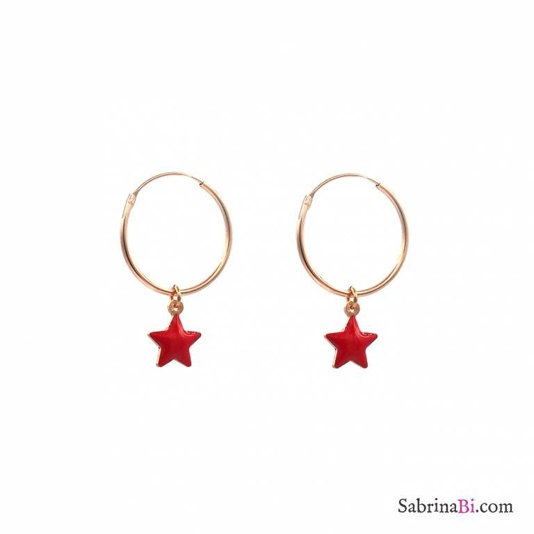Orecchini cerchio argento 925 oro rosa stelle rosse