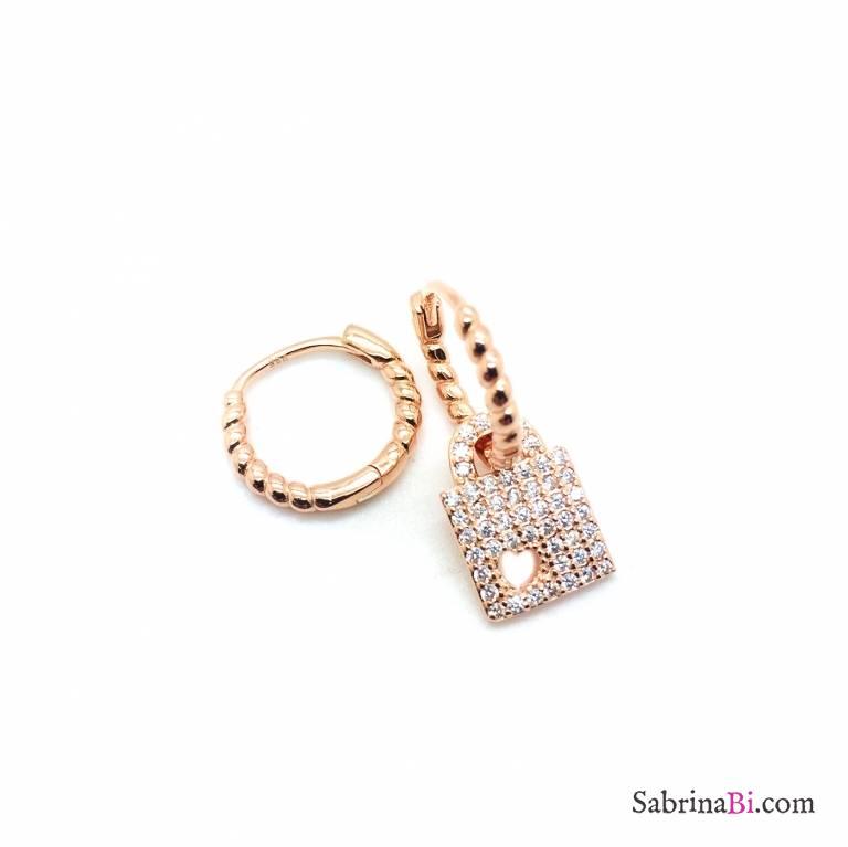 Orecchini cerchio torchon argento 925 oro rosa Lucchetto Zirconi