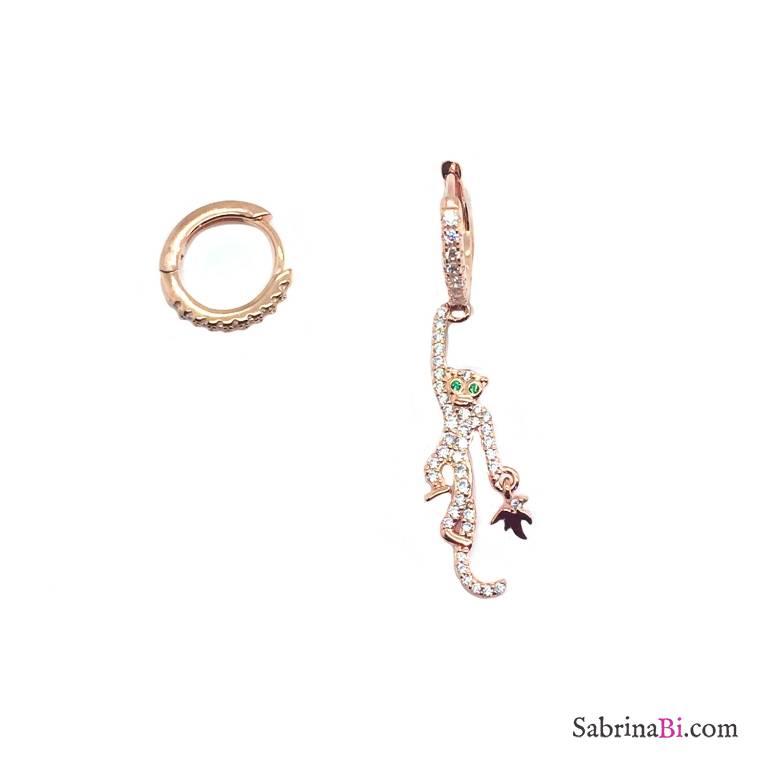Orecchini cerchio zirconato argento 925 oro rosa scimmietta Zirconi