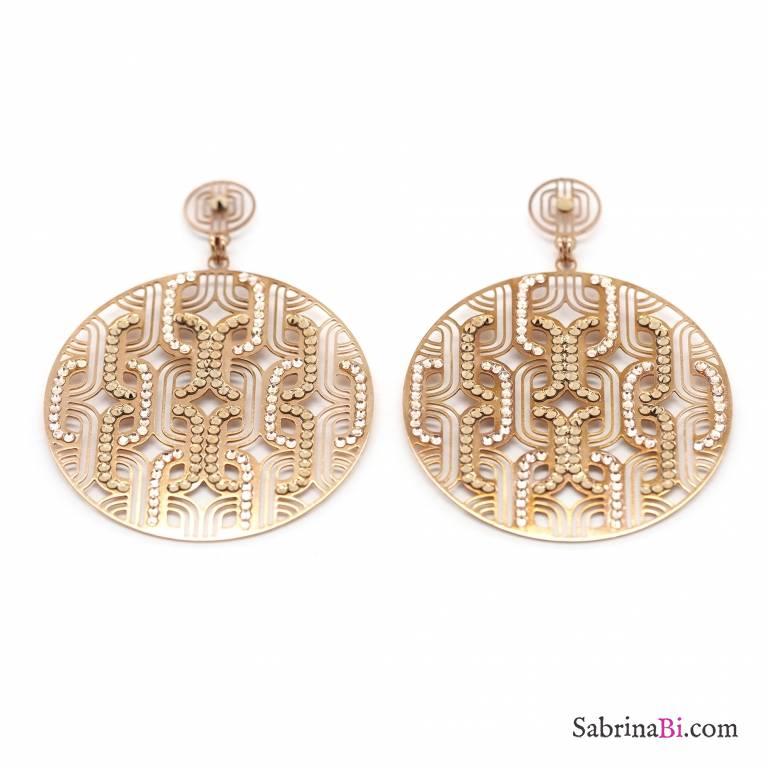 Orecchini Chandelier a cerchio filigrana oro rosa e Swarovski