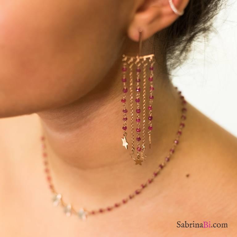 Orecchini Chandelier argento 925 oro rosa radici di Rubino e stelle