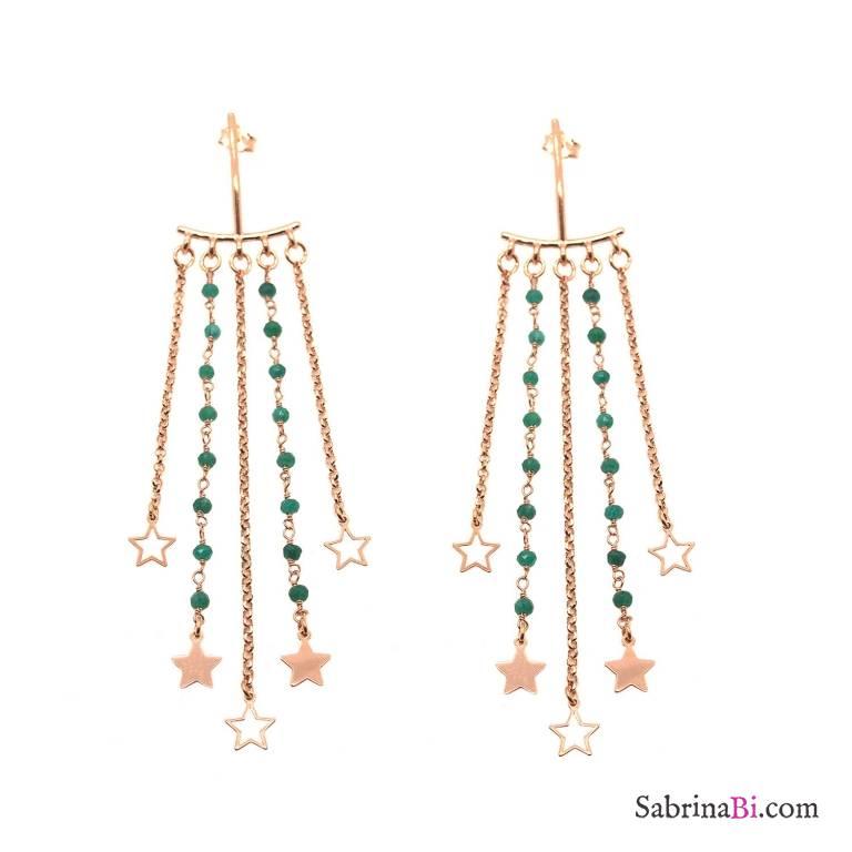 Orecchini Chandelier argento 925 oro rosa radici di Smeraldo e stelle