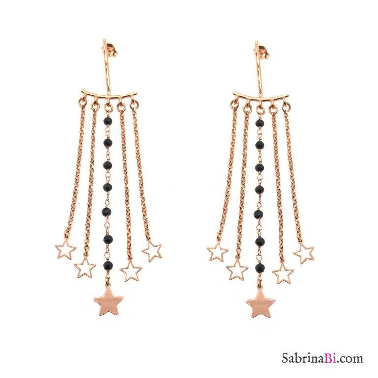 Orecchini Chandelier argento 925 oro rosa Spinelli neri e stelle