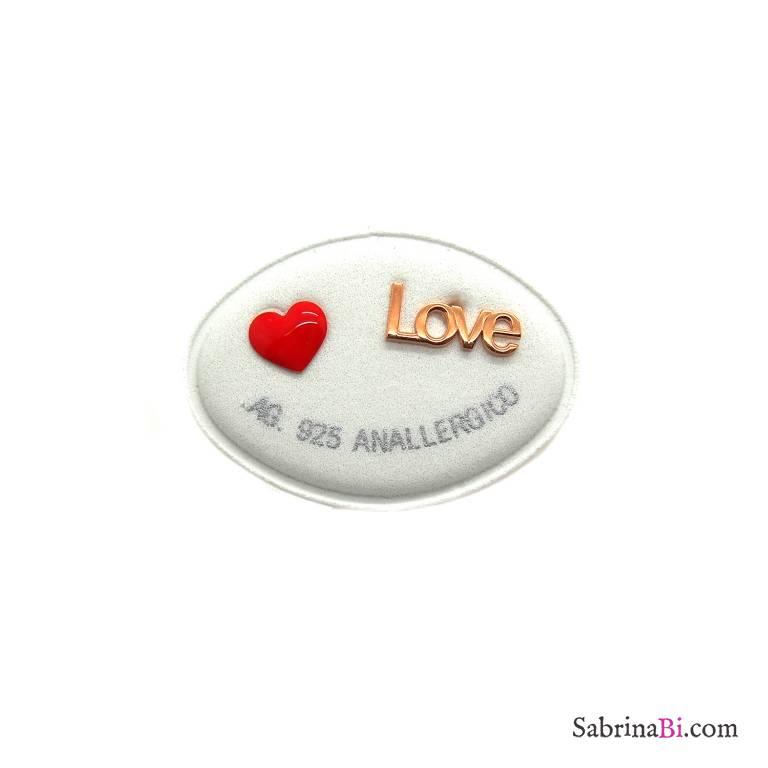 Orecchini lobo argento 925 oro rosa cuore rosso + Love