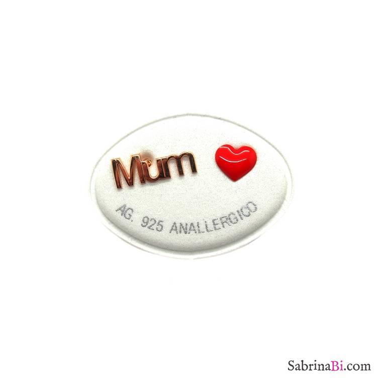 Orecchini lobo argento 925 oro rosa cuore rosso + Mum