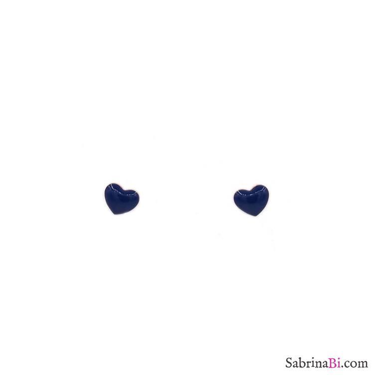 Orecchini lobo argento 925 oro rosa cuore smalto blu