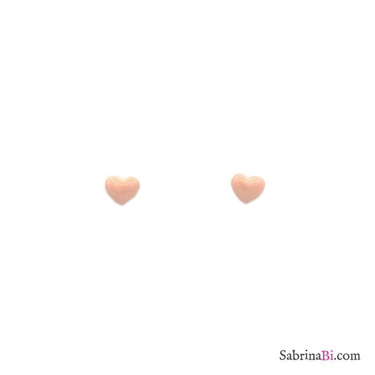 Orecchini lobo argento 925 oro rosa cuore smalto rosa