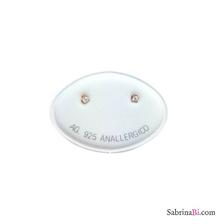 Orecchini lobo argento 925 oro rosa punto luce Zircone misura 0,20