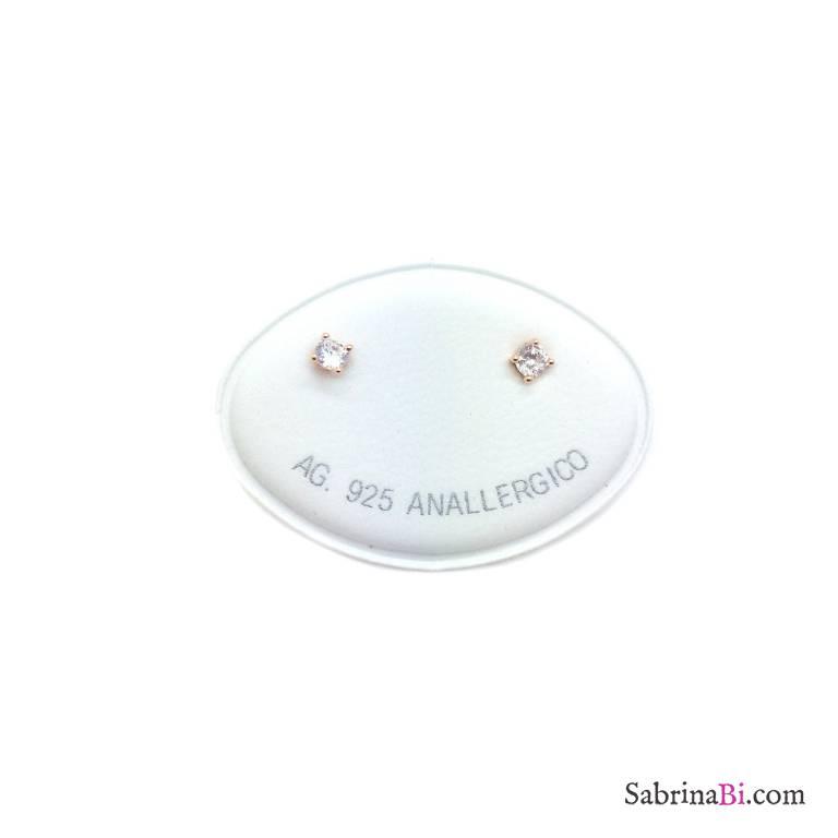 Orecchini lobo argento 925 oro rosa punto luce Zircone misura 0,30