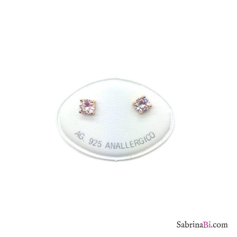Orecchini lobo argento 925 oro rosa punto luce Zircone misura 0,50