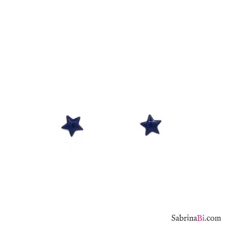 Orecchini lobo argento 925 oro rosa stella smalto blu