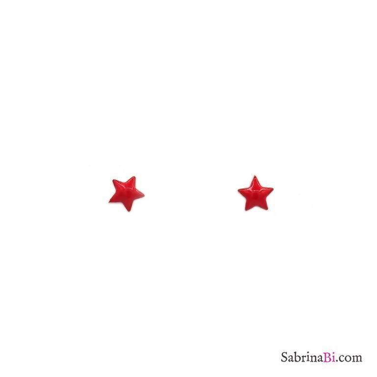 Orecchini lobo argento 925 oro rosa stella smalto rossa