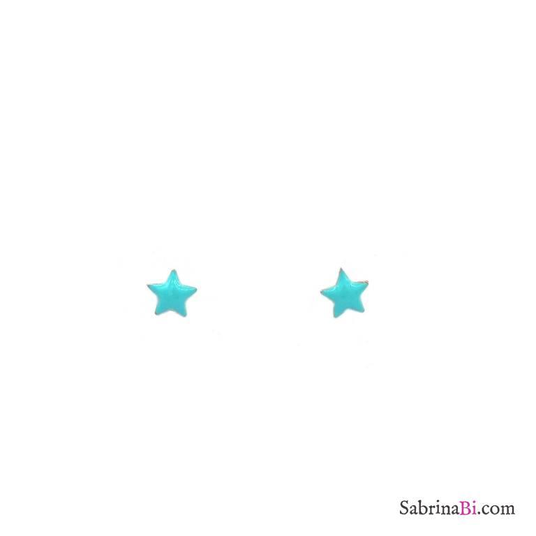 Orecchini lobo argento 925 oro rosa stella smalto verde Tiffany