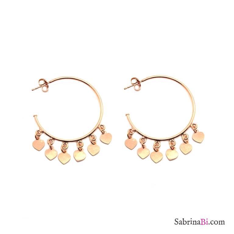 Orecchini mezzo cerchio argento 925 oro rosa cuori