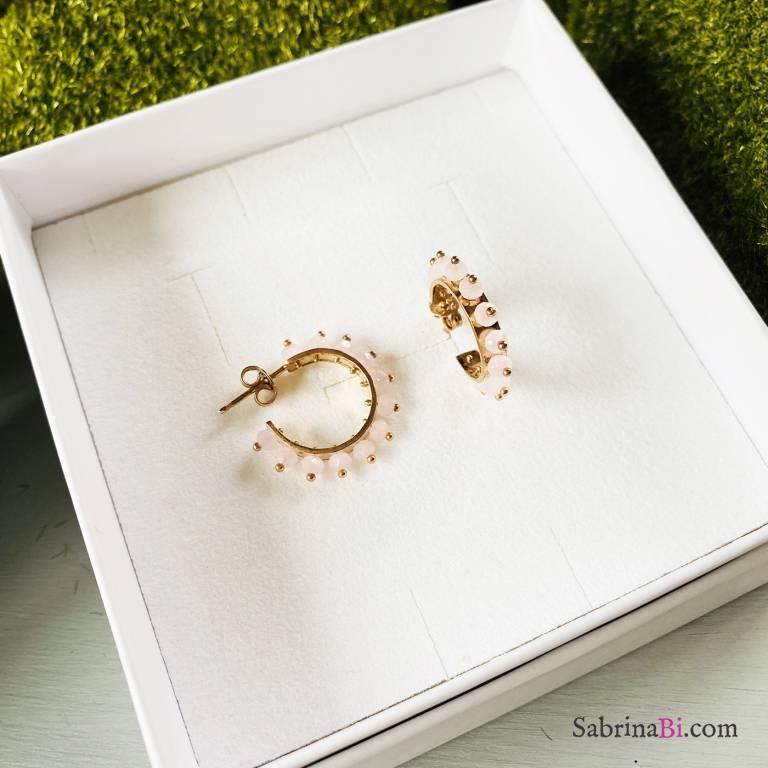 Orecchini mezzo cerchio argento 925 oro rosa Eloise