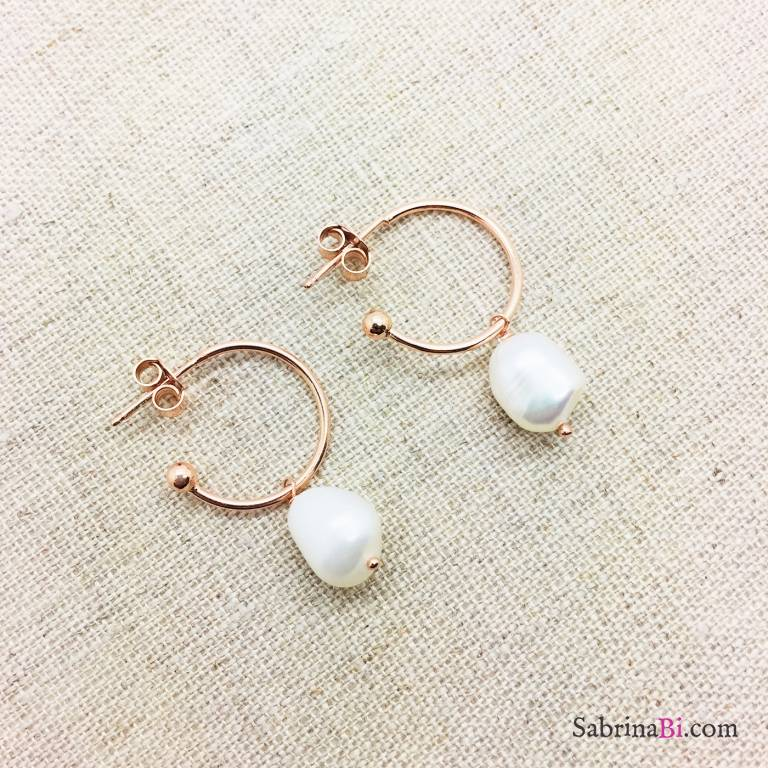 Orecchini mezzo cerchio argento 925 oro rosa Perla Barocca