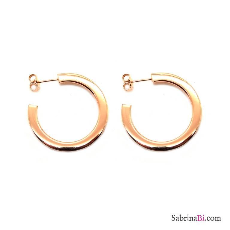 Orecchini mezzo cerchio argento 925 oro rosa squadrati